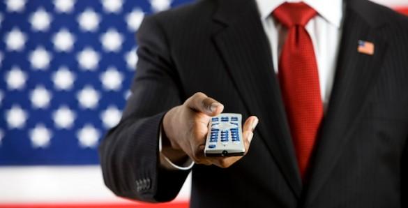 politician with tv remote