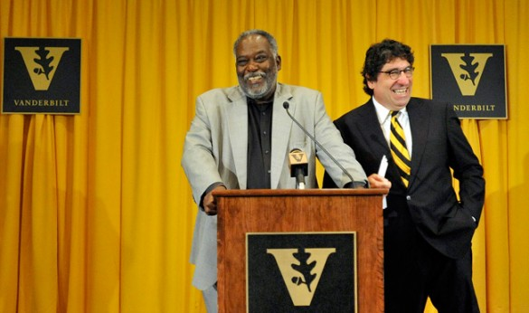 Chancellor Nicholas S. Zeppos (right) named David Williams vice chancellor for athletics and university affairs and athletics director during a press conference July 12. (Joe Howell/Vanderbilt)