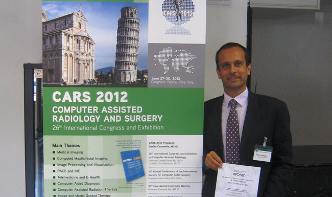 Pietro Valdastri was awarded with the OLYMPUS ISCAS Best Paper Award at the 16th Annual Conference of the International Society for Computer Aided Surgery June 30 in Pisa, Italy. (Vanderbilt University)