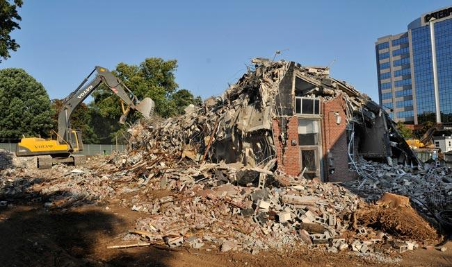 Demolition continues June 26, 2012, on residence halls at the former Kissam Quadrangle. (John Russell/Vanderbilt)