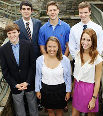 Front row, l-r: Wes Floyd, Kelsey Kaline and Alexandra Scovone; back row, l-r: Marc Loeffke, Patrick Starr and Charlie Molthrop. (image courtesy of Furman University)