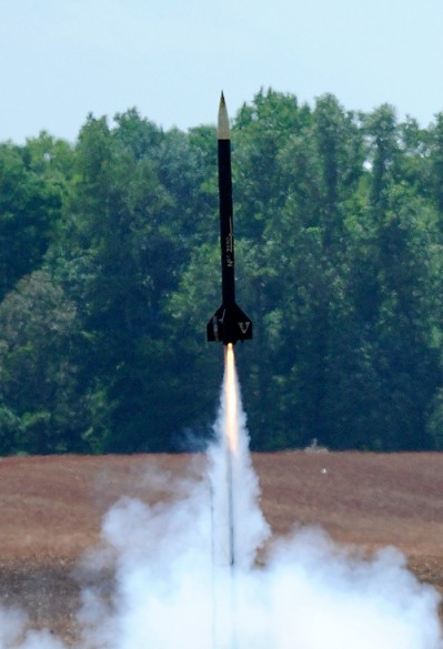 Vandy rocket being launched.