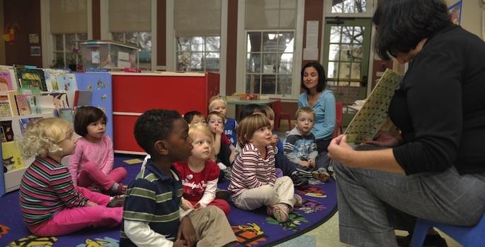 teacher reading to children