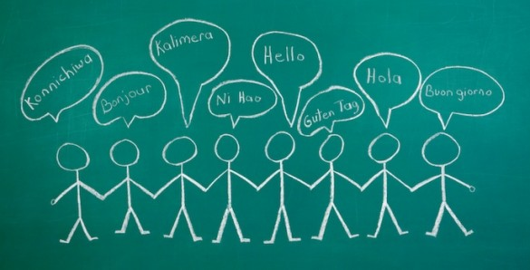 Greetings in different languages on chalkboard