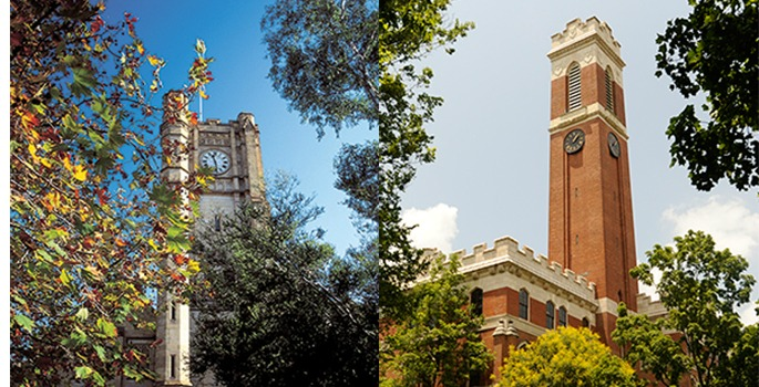 Vanderbilt and University of Melbourne clock towers