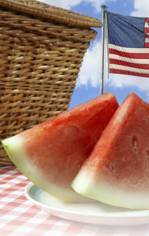 Watermelon and flag