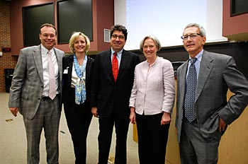 Discovery Lecturer Shirley Tilghman, second from right, with, from left, Jeff Balser, Susan Wente, Vanderbilt Chancellor Nicholas S. Zeppos, and Roger Cone. (Anne Rayner / Vanderbilt)