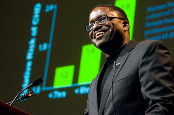 Gary Gibbons, of Morehouse School of Medicine, gave this year's Dolores C. Shockley Lecture. (Mary Donaldson / Vanderbilt)