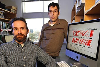 Professor Antonis Rokas, right, and research associate Jason Slot. (John Russell / Vanderbilt)