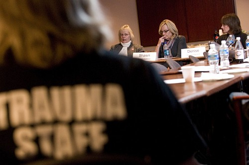 Members of the Vanderbilt Trauma Survivors Network discuss the impact of traumatic brain injury at a recent peer panel discussion. (Photo by Mary Donaldson)