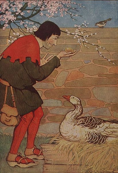 Illustration for The Goose That Laid the Golden Eggs by Milo Winter