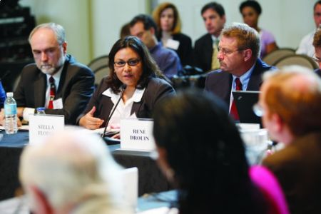 Assistant Professor Stella Flores discusses issues pertaining to college access at the roundtable held at Peabody in June.
