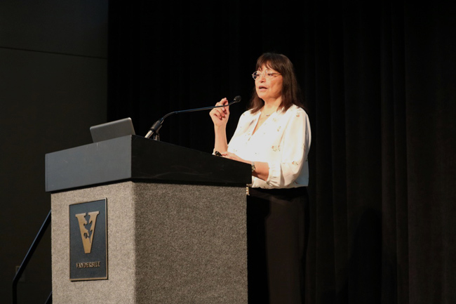 Lydia Villa-Komaroff, founder of The Society for the Advancement of Chicanos/Hispanics and Native Americans in Science, gave the keynote address. (Anne Rayner/Vanderbilt)