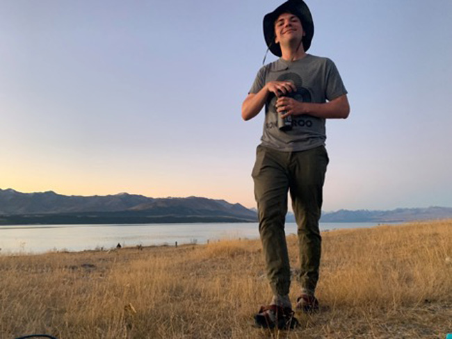 Vanderbilt junior Andrew Harwell, a 2019-20 Udall Scholar, is pictured here at Lake Tekapo on the South Island of New Zealand during his study abroad experience.