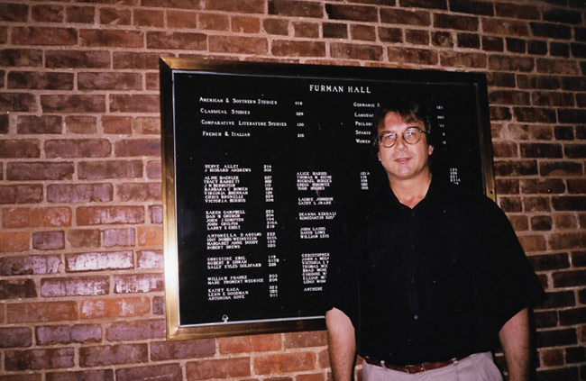 Hervé Allet, former assistant professor of French, in Furman Hall on the Vanderbilt University campus.