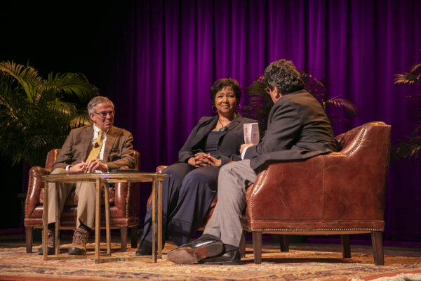 Keynote speakers Mae Jemison and Rush Holt in conversation with Chancellor Nicholas S. Zeppos. (Anne Rayner/Vanderbilt)