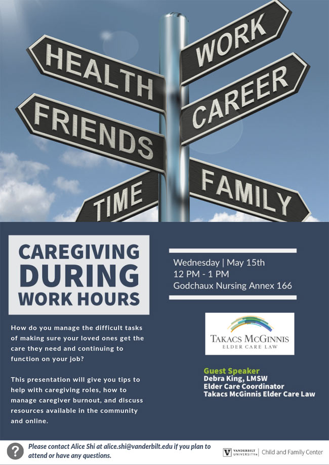 """Caregiving During Work Hours"" poster"