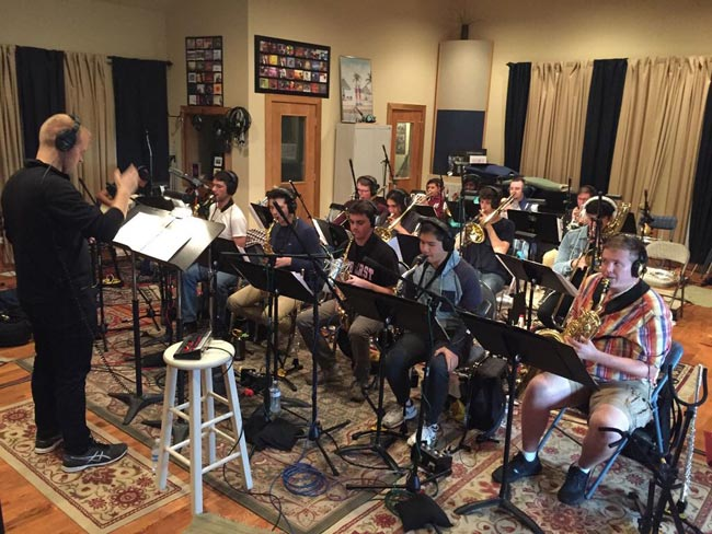 "The Blair Big Band recording its second album, ""Songbook,"" under the direction of Ryan Middagh. (Vanderbilt University)"