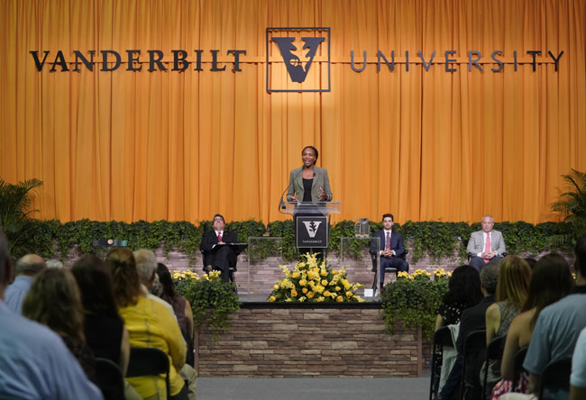 Tennis champion, entrepreneur and equal rights advocate Venus Williams imparted wisdom to Vanderbilt University's Class of 2019 during Senior Day activities May 9 in Memorial Gym. (Vanderbilt University)