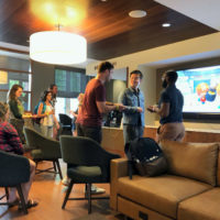renovated space in Alumni hall for graduate students to study inforally and socialize