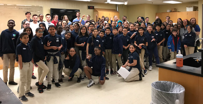 Students from Vanderbilt's Medical Scientist Training Program hosted middle school students from LEAD Academy and their teachers for a series of activities focused on science and medicine. (Vanderbilt University)