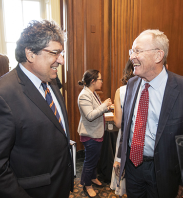 Chancellor Nicholas S. Zeppos (left) and Sen. Lamar Alexander. (Vanderbilt University)