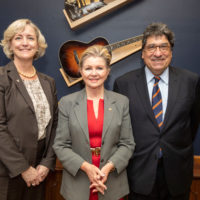 L-r: Provost and Vice Chancellor for Academic Affairs Susan R. Wente, Sen. Marsha Blackburn and Chancellor Nicholas S. Zeppos. (Vanderbilt University)