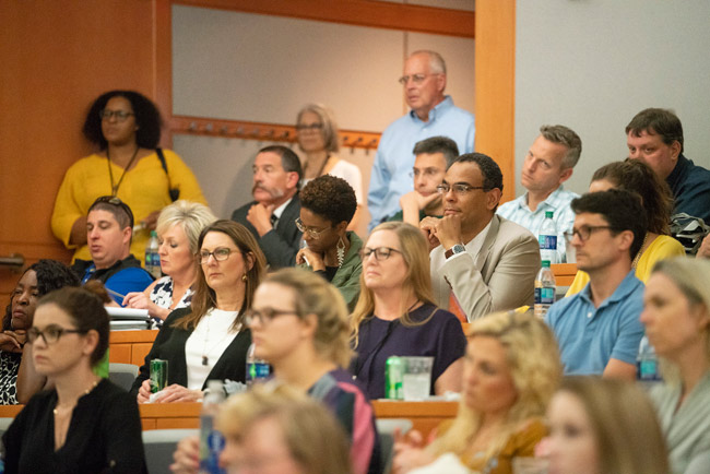 A capacity crowd filled Featheringill Hall's Jacobs Believed in Me Auditorium for the June 5 event, and dozens more watched a live stream on theChancellor Search website. (Joe Howell/Vanderbilt)