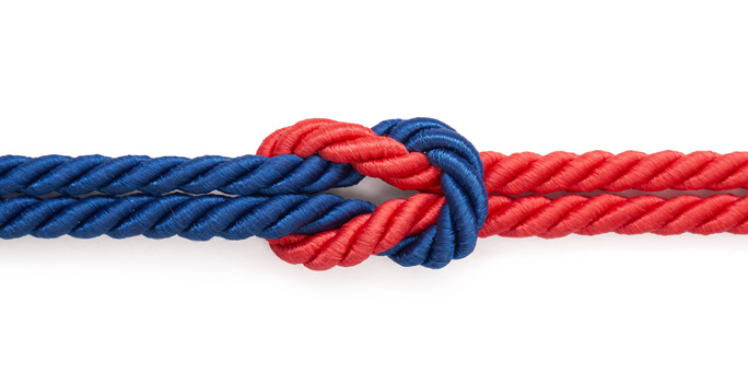 red and blue rope knotted together