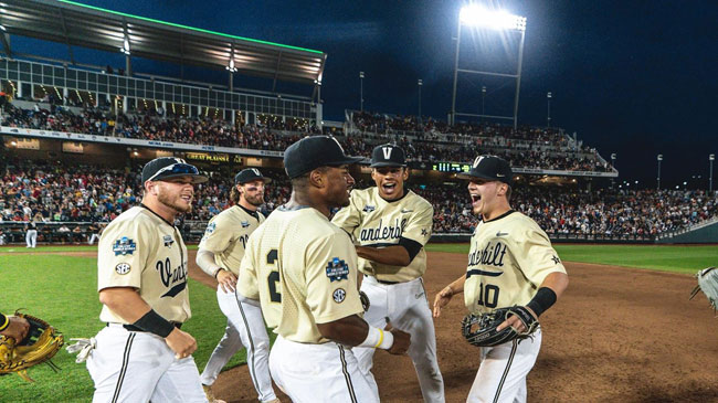 The Commodores staged a late rally to drop Louisville, 3-2, at the College World Series on Friday night, clinching a spot in the championship series in Omaha. Vanderbilt will face off against Michigan in a best-of-three series for the NCAA title beginning Monday at 6 p.m.