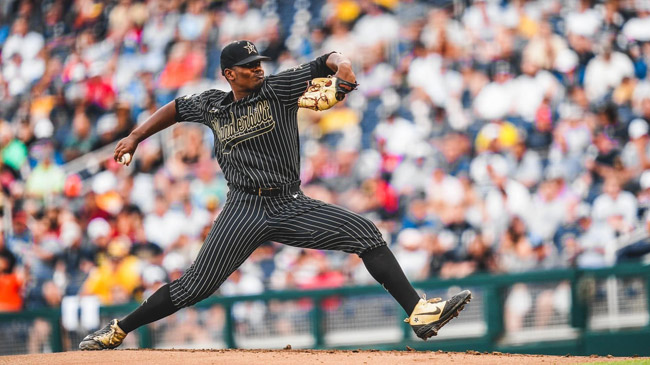 Vanderbilt pitcher Kumar Rocker in Game 2 of the 2019 College World Series finals. (Joe Howell/Vanderbilt)