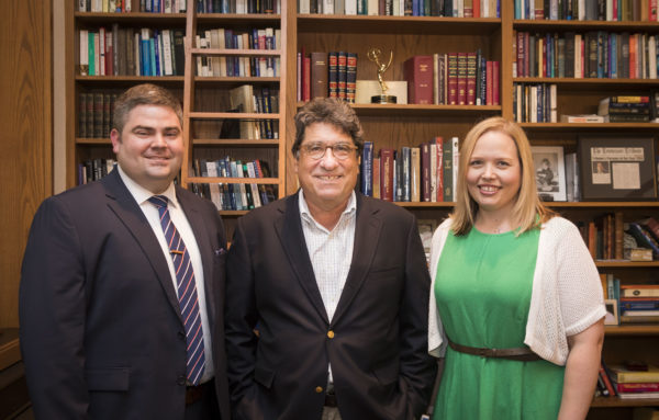 Chancellor Nicholas S. Zeppos stands in between Michael Pring and Jenny Mandeville.