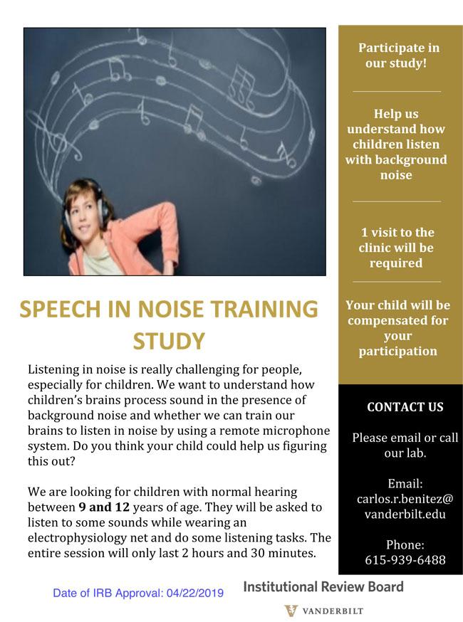 Speech in Noise training study flyer