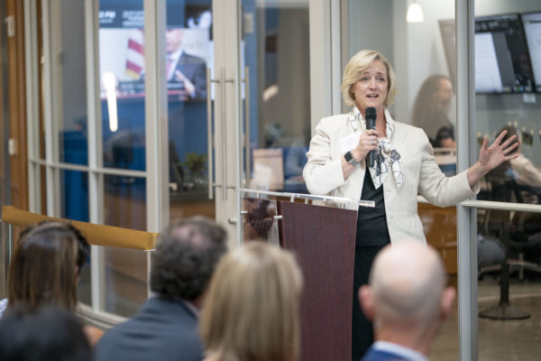 Provost Wente speaks at the grand opening of the Frist Center for Autism and Innovation. (John Russell/Vanderbilt)