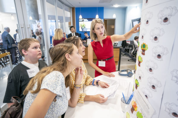 Guests at the opening of the Frist Center for Autism and Innovation learn about neurodiverse skills and approaches to innovation. (John Russell/Vanderbilt)