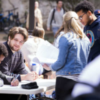 students during sign-up sessions on Rand Wall (Vanderbilt University)