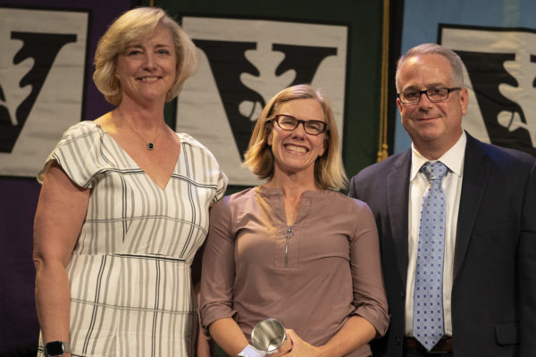 L-r: Interim Chancellor and Provost Susan R. Wente, Chancellor's Award for Research winner Sarah Igo and Faculty Senate Chair John McLean. (Joe Howell/Vanderbilt)