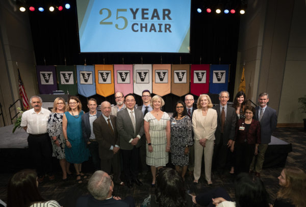Thirty-two faculty were recognized for 25 years of continuous service to the university at the fall assembly on Aug. 22 . (Joe Howell/Vanderbilt)