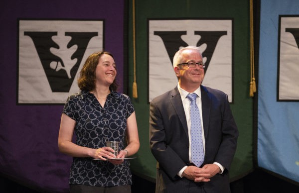 Chancellor's Award for Research winner Sharon Weiss (left) with Faculty Senate Chair John McLean. (Joe Howell/Vanderbilt)