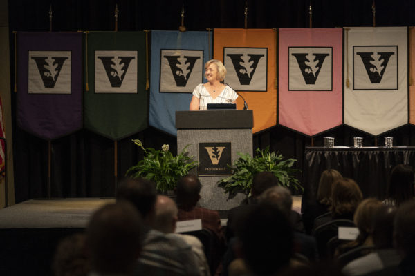 Interim Chancellor and Provost Susan R. Wente addresses faculty at the 2019 Fall Faculty Assembly on Aug. 22. (Joe Howell/Vanderbilt)