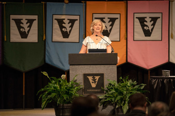 Susan R. Wente delivered her first major address in the dual roles of interim chancellor and provost at Fall Faculty Assembly on Aug. 22. (Joe Howell/Vanderbilt)