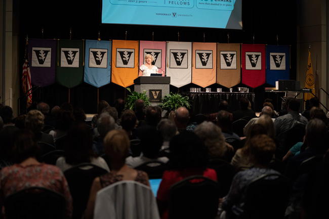 Interim Chancellor and Provost Susan R. Wente concluded her remarks by urging the faculty to apply their individual strengths to the university's collective mission. (Joe Howell/Vanderbilt)