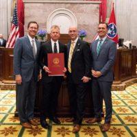 L-r: Speaker of the House Cameron Sexton (R-Crossville), Coach Tim Corbin, Rep. Johnny Garrett (R-Goodlettsville) and Rep. John Ray Clemmons (D-Nashville). (Joe Howell/Vanderbilt)