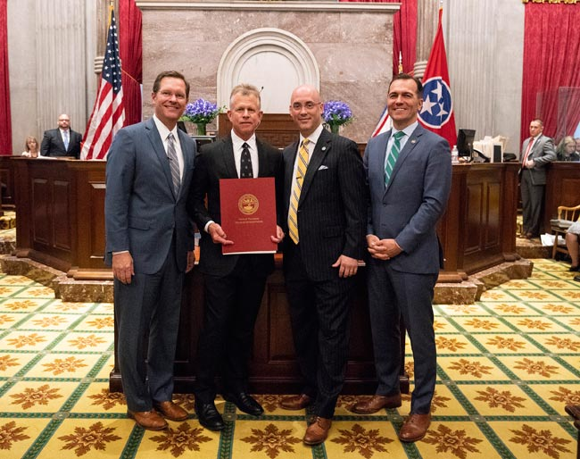 L-r: Speaker of the House Cameron Sexton (R-Crossville), Coach Tim Corbin, Rep. Johnny Garrett (R-Goodlettsville) and Rep. John Ray Clemmons (D-Nashville). (Joe Howell/Vanderbilt)