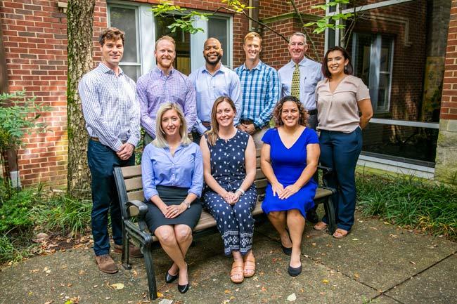 Standing, left to right: Ken Barnes, Owen, U.S. Navy; Matt Smith, Medicine, U.S. Navy; Devin T. Adams, Law, U.S. Army; Craig Kuphall, Owen, U.S. Army; Lt. Gen. Gary Cheek, Bass Military Scholars program director, U.S. Army; and Alba Cook, program coordinator. Sitting, left to right: Alyssa Hartley, Law, U.S. Navy; Mandi Mizner, Nursing, U.S. Army National Guard; and Vanessa Thomsen-Johnson, Nursing, U.S. Army. (Anne Rayner/Vanderbilt)
