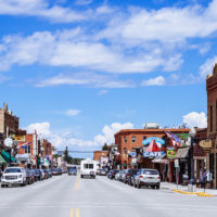 Small Montana town busy downtown Main Street