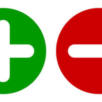 round green dot with plus sign and round red dot with minus sign