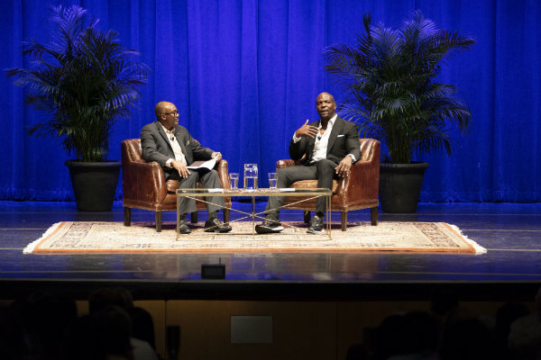 Interim Vice Provost WIlliam H. Robinson conducts Q&A with Chancellor's Lecturer Terry Crews following his talk (Joe Howell/Vanderbilt University)