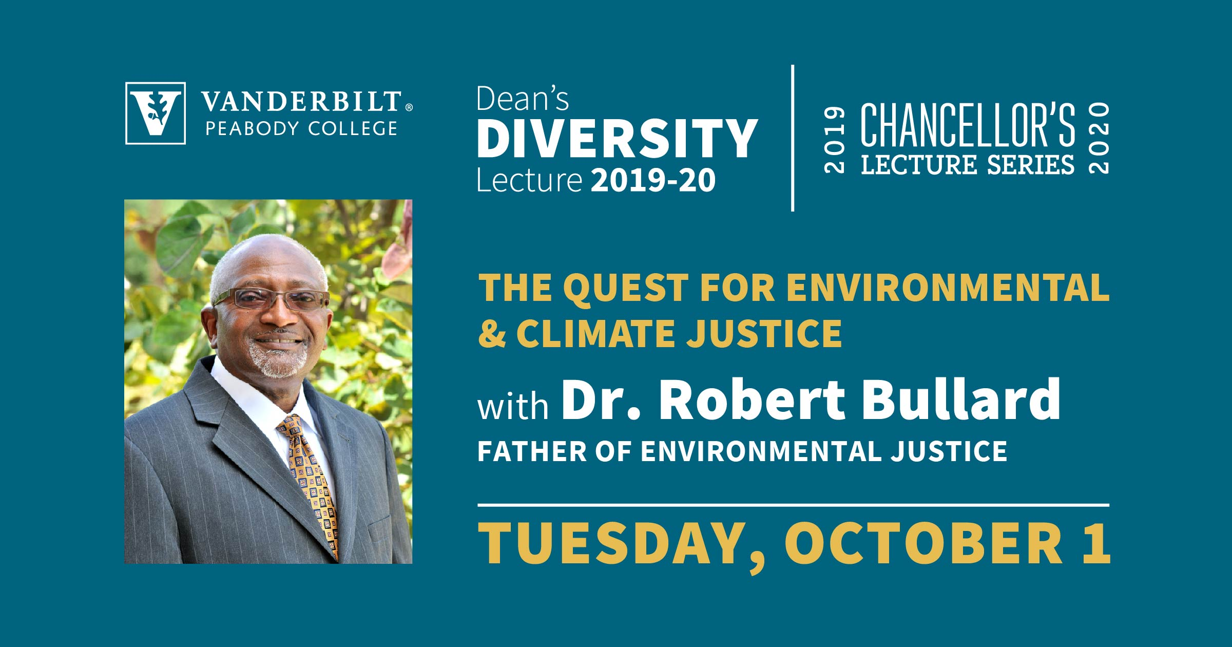 "Robert Bullard, award-winning author and Distinguished Professor of Urban Planning and Environmental Policy at Texas Southern University will give a lecture to the Vanderbilt community on Tuesday, Oct. 1 from 4:30 p.m. to 5:30 p.m. at the Wyatt Center Rotunda. Bullard's talk, ""The Quest for Environmental and Climate Justice,"" is co-presented by the Chancellor's Lecture Series and Peabody College's Dean's Diversity Lecture."