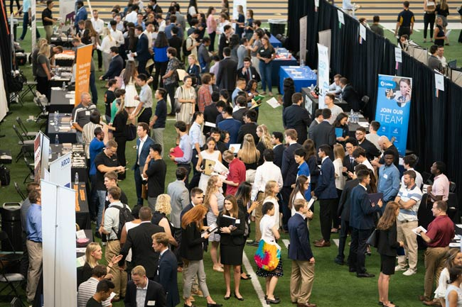 The fall Career Fair on Sept. 11 featured 153 employers in attendance—making it the largest Career Fair yet—and attracted 1,927 students from all undergraduate classes. (Joe Howell/Vanderbilt)